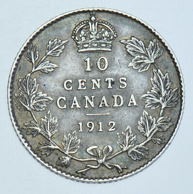 Canada George V 10 Cents, 1912 Silver Coin Gvf+