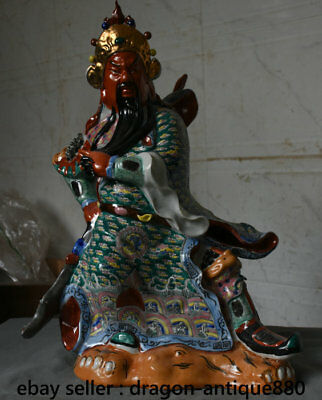 """18"""" Chinese Old antique Wucai Porcelain Stand Guan Gong Yu Warrior God Statue"""
