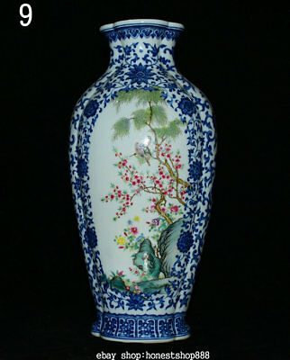 "15"" Marked Chinese Famille Rose Porcelain Plum Blossom Flower Bird Vase Bottle"