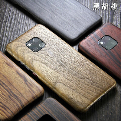 For Huawei Mate 20 Pro / P30 Natural Ebony Rosewood Wooden Back Slim Case Cover