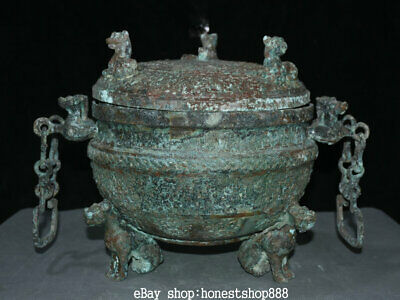 """14"""" Chinese Dynasty Old antique Bronze Ware 3 Beast Handle Chain Pot Jar Crock"""