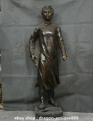 110cm Chinese Bronze Stand Young Chairman Mao Zedong Go Anyuan Statue Sculpture