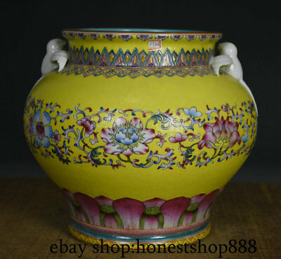 "11.6"" Marked Old Chinese Yellow Wucai Porcelain Dynasty Bird Flower Tank Jar"