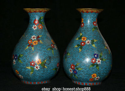 "8"" Marked Chinese dynasty Palace Bronze Cloisonne Big Flower Bottle Vase Pair"