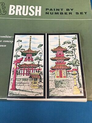 Vintage Paint by Number Art Kit Japanese Pagodas In Box Quill And Brush Set