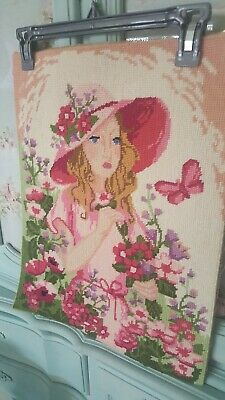 "Stunning completed hand embroidered woolwork tapestry flower girl 14. 5""x 18.5"""