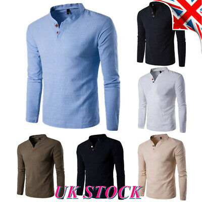 Mens V Neck Slim Fit T Shirt Long Sleeve Plain Casual Muscle Tee Tops Blouse UK