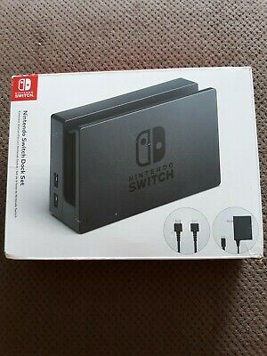 Genuine Nintendo Switch Charging Dock + AC Adapter Power Cable OEM Set - Black