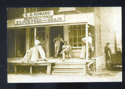 Real Photo Howard Grain Store Farming Supplies Advertising Postcard Copy