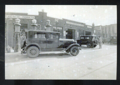 Real Photo New Hampton Iowa Gas Station Antique Cars Postcard Copy