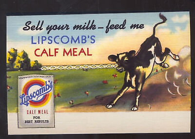 Lipscomb's Calf Meal Farming Farm Cow Feed Advertising Postcard Copy