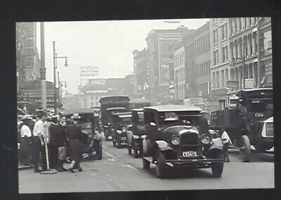 Real Photo Newark New Jersey Downtown Street Scene Old Cars Postcard Copy