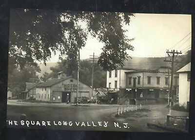 Real Photo Long Valley New Jersey Downtown Street Scene Postcard Copy