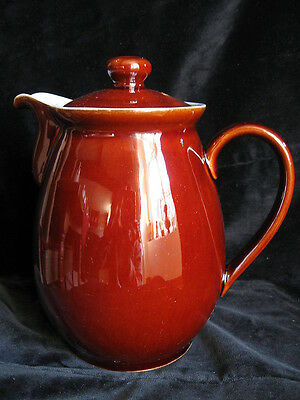 Vintage Denby Pottery HOMESTEAD Large 2.5 Pint Coffee Pot - treacle brown blue