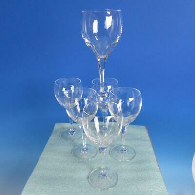 """Lalique France Crystal - Tuileries Cut - 6 Water Wine Goblets Glasses  - 7 1/8"""""""