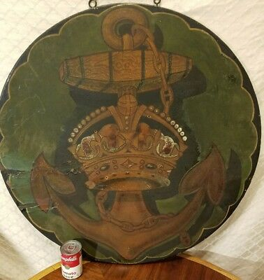 Huge Antique Wood Hand Painted Double Sided Anchor And Crown Sign Stunning