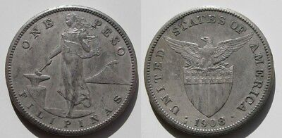 Filipinas . Usa . 1 Peso De 1908 . Plata