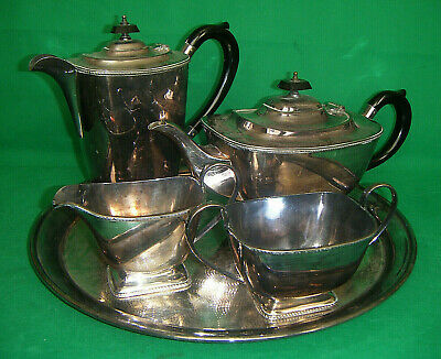 VINTAGE 5pc Art Deco TEA SET A1 epns SILVER PLATED by LEWIS ROSE & CO. Sheffield
