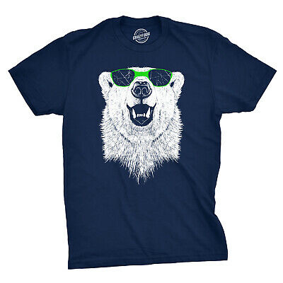 f828bcba2 Mens Polar Bear Wearing Sunglasses Tshirt Funny Zoo Animal Graphic Tee  (Blue) -
