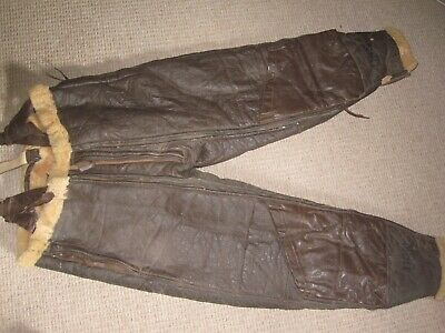 USN M-446A Fleece-Lined Leather Flying Pants Winter Trousers WWII US Navy