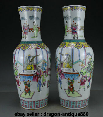 """20"""" Old Chinese Wucai Porcelain Hand Drawing Palace Official Soldier Bottle Pair"""