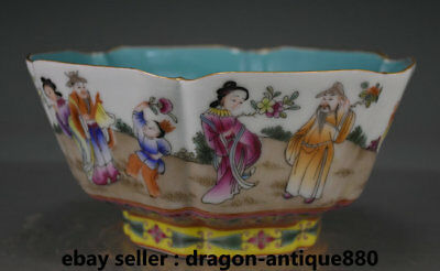 """9"""" Marked Old Chinese Wucai Porcelain Hand Drawing Palace People Flower Bowl"""