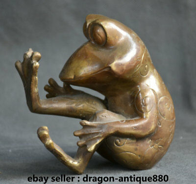 14CM Rare Old Chinese Bronze Feng Shui common pond frog Frogs Animal Sculpture