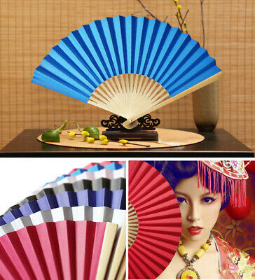 Chinese Style Hand Held Fan Bamboo Paper Folding Fan Party Wedding Decor AI