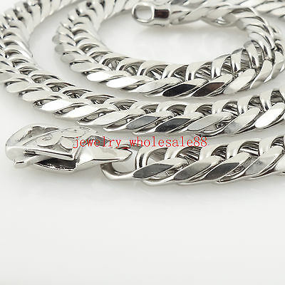 18''-36'' Silver 316L Stainless steel Double Link Chain Necklace 12mm XMAS Gifts