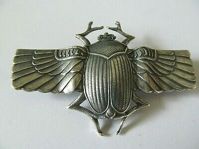 Art Deco Egyptian Extra Large Silver Winged Scarab Beetle Designed Brooch Pin