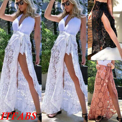 f47b2001de Sexy Women Bikini Cover Up Swimwear Sheer Beach Maxi Wrap Skirt Sarong  Pareo US