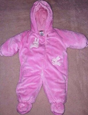 604c653a3 Baby Girls ABSORBA Pink Plush Bunting Snow Suit Size 6 months EUC Winter  Snow