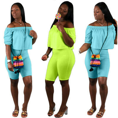 Sexy Women Solid Boat Neck Short Sleeves Casual Summer Party Club Jumpsuit 2pc
