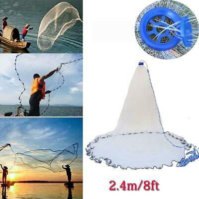 1.8*30m Easy Hand Cast Fishing Net Spin Network Bait Fish Net+Sinker H3A9