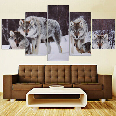 5pcs Wolf Snow field Canvas Picture Modern Art Unframed Painting Home Wall Decor