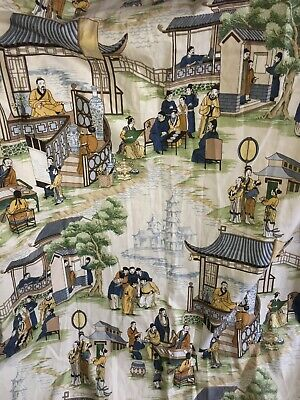 """J Churchill Ltd CATHAY GARDENS Japanese LARGE Curtain Drop 74"""" Wide 103"""" Lined"""