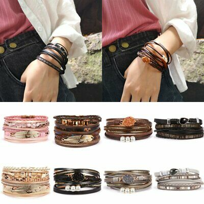 New Punk Women Multi-layer Leather Cuff Magnetic Clasp Bracelet Bangle Wristband