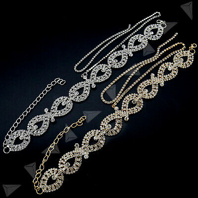 Women Silver/Gold Diamante Rhinestone Crystal Choker Bling Party Necklace