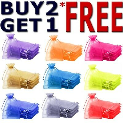 25 & 50 Organza Bags Wedding Party Favour Gift CandyJewellery Pouch Large Smalll