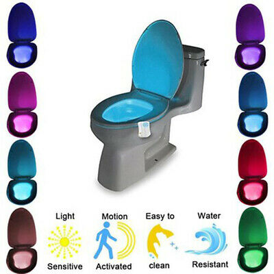 Toilet Bowl Light Motion Sensor Activated LED 8 Color Auto Bathroom Night Lamp