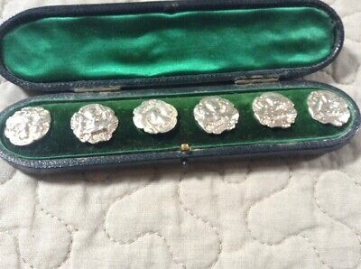 Antique Cased Set Of Six Hallmarked Silver Buttons By Thomas Whitehead 1901