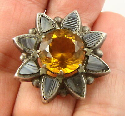 Antique Victorian c1890 sterling silver Scottish agate citrine brooch pin