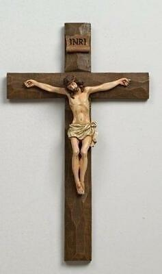 "Roman 12"" Inri Driftwood Texture Crucifix Wall Cross Multi -Beautiful &Intricate"