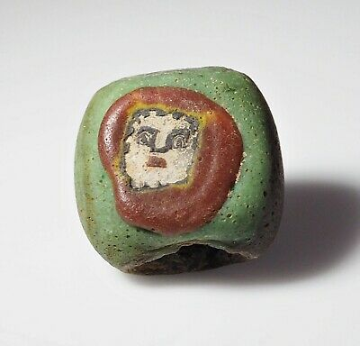 Phoenician Style Antique Protection Face Green Islamic Sand Core Glass beads