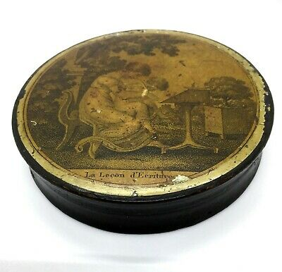 Antique French 1st Empire Papier Mache Snuffbox 'La Lecon D'ecriture' c.1805