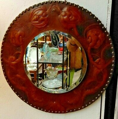 Stunning Arts & Crafts Circular Bevelled Edge Mirror with Leather Surround