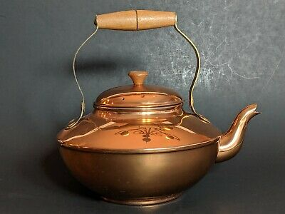 Copper Kettle Teapot With Wooden Handle Made in Portugal Goose neck Solid Copper