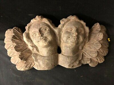 Vintage Carved Pair Of Winged Cherubs Made Of Wood As Found **