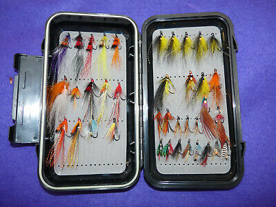 Airflo fly box with a great selection of large n small double hook salmon flies