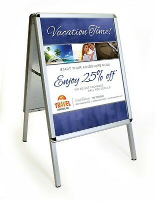 "A-Board Sidewalk Sign, Double-Sided Sandwich Board, Holds 22"" x 28"" Signs"